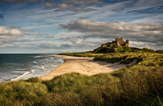 Late afternoon light on the castle and beach at Bamburgh
