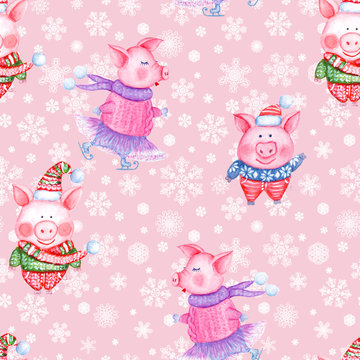 2019 Happy New Year and Christmas seamless pattern with watercolor funny pigs