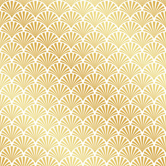 Seamless gold Art Deco palm leaf pattern