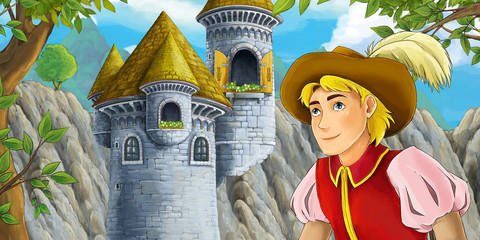 cartoon scene of castle tower with opened window prince in front - illustration for children