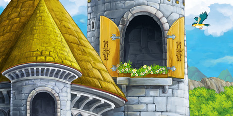 cartoon scene of castle tower with opened window nobody - illustration for children