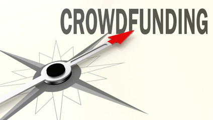 Crowdfunding word on compass with red arrow