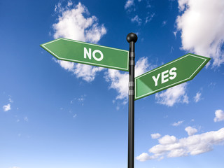 arrow road signs of words yes and no on the blue sky. 3D illustration