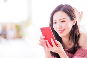 happy woman use smart phone