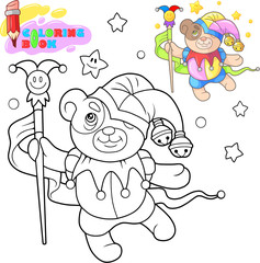 cartoon cute teddy bear dancing, funny illustration, coloring book
