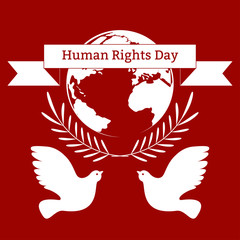 Human Rights Day. The concept of a social holiday. Planet Earth, olive branches, pigeons, ribbon with the name of the event