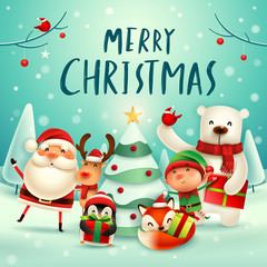 Merry Christmas! Happy Christmas companions. Santa Claus, Reindeer, Elf, Polar Bear, Fox, Penguin and Red Cardinal Bird in Christmas snow scene.