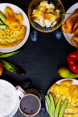 Ingredients of healthy dietary food breakfas Vegetarian friendly. Top View