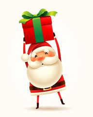 Santa Claus with gift present. Isolated.