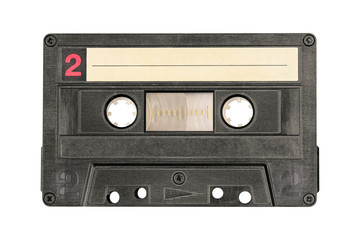 Retro black audio cassette tape isolated on white background. Side two.