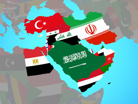 Middle East with national flags on blue political globe.