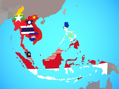 South East Asia with national flags on blue political globe.