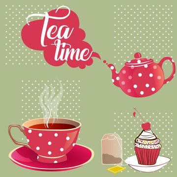 Tea time: Cup of tea, teapot and cake