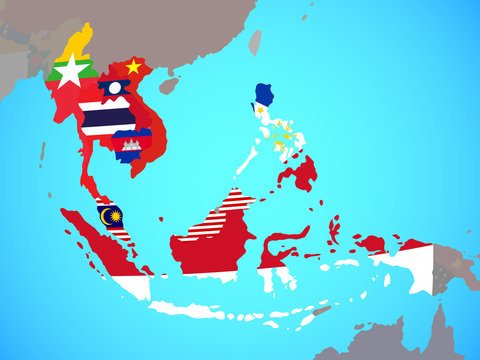 ASEAN memeber states with national flags on blue political globe.