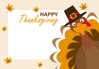 Thanksgiving day card. Turkey with hat.