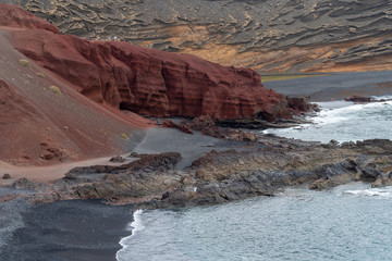View of the gulf of El Golfo. Lanzarote. Canary Islands. Spain