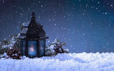 Glowing Lantern in a Snowy Christmas Holiday Scene