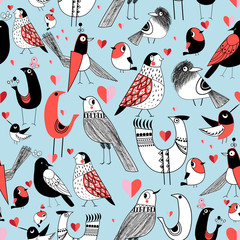 Graphic seamless pattern of funny pictures of birds