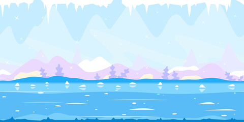 Ice Cave Game Background Flat Landscape