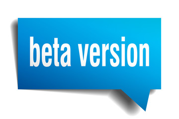 beta version blue 3d speech bubble