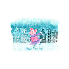 Happy New Year and Christmas illustration with winter watercolor old european houses, snow and funny pig on blue stain