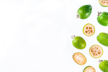 Tropical fruit, raw organic feijoa isolated on white background layout pattern copy space top view