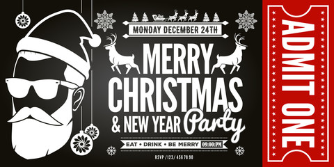 Christmas and New Year Party Ticket Invitation. Vector illustration.
