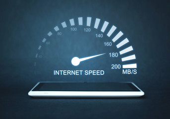 Internet speed measurement. Internet and technology concept Fototapete