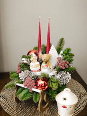 Christmas decoration candlestick with ceramic teddy bear and candles