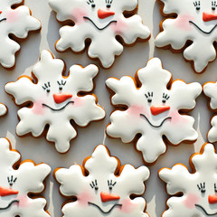 Funny snowflakes background. Christmas cookies background