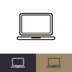 Laptop icon set isolated on background logo, emblem, logotype your business. Vector 10 eps