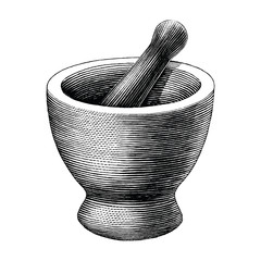 Mortar and pestle vintage engraving illustration isolated on white background,Logo of pharmacy and medicine