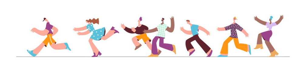 Group running people trendy style. Character in the marathon, in motion, lifestyle flat illustration