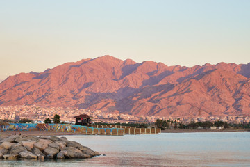 View of pink mountain at Eilat, Israel