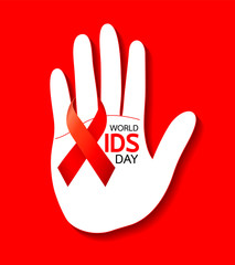 World AIDS Day. hand with Red ribbon. Aids Awareness icon design for poster, banner, t-shirt. Vector illustration isolated on red background.