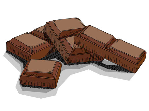 Vector illustration of drawing chocolate bars.