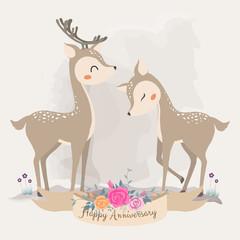 Cute Deer in love. invitation card.