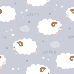 Seamless pattern with cute sheeps.