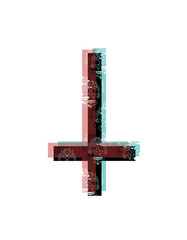 Inverted cross, color channels effect background