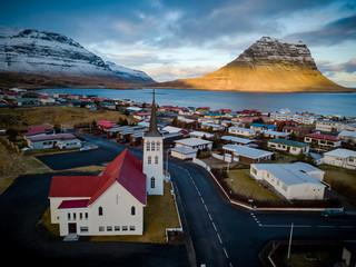 Panoramic Aerial view of kirkjufell and Grundarfjörður