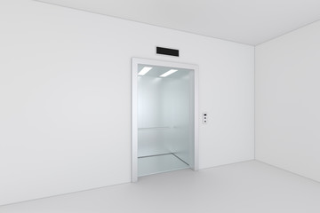 Elevator, Metal Elevator, waiting Elevator. Building with empty wall. 3d rendering.