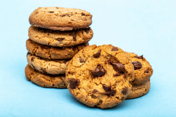 Tasty cookies with blue background. Homemade and delicious biscuit in high resolution.