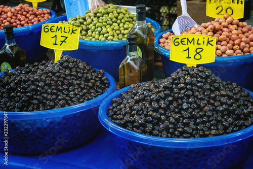 Turkish farmer market  Variety of green and black olives on the