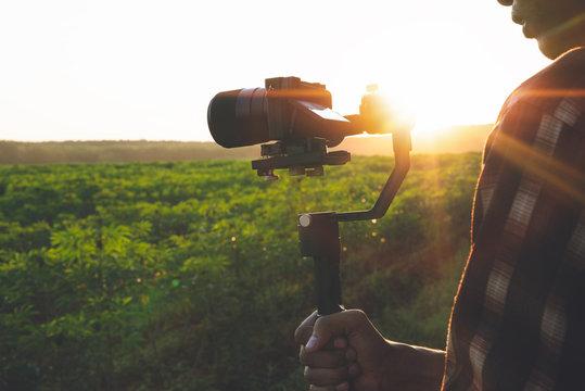 Videographer with Gimbal