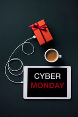 gift and text Cyber Monday in a tablet