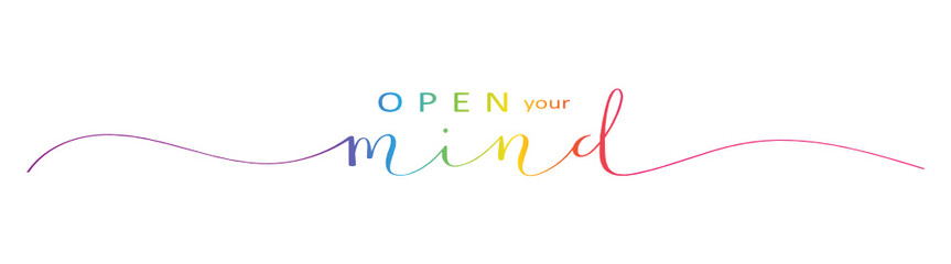 OPEN YOUR MIND brush calligraphy banner