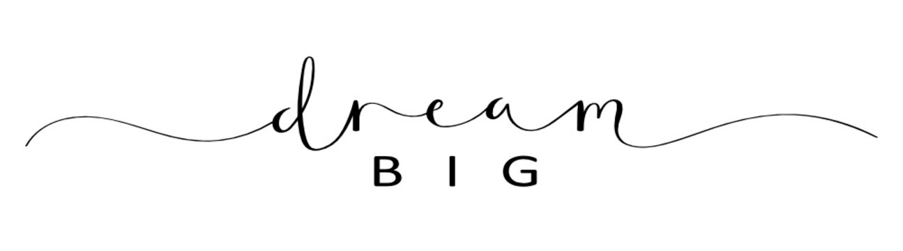 DREAM BIG brush calligraphy banner