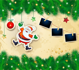 Christmas background with happy Santa, branches and photo frames