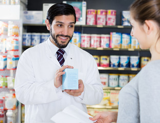 apothecary is recommending medicine for  woman