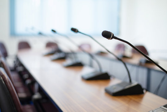 Conference Microphone placed on the table in the conference room, Close up.